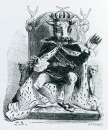 MOLOCH - Portrayed as a bronze statue with a calf's head, adorned with a royal crown and seated on a throne, his arms were extended to receive the child victims sacrificed to him. When a child was sacrificed to Moloch, a fire was lit inside his statue. The priests would then beat loudly on drums and other objects so that the cries would not be heard.