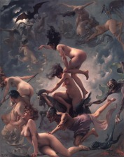 "Painting - ""Witches on the Sabbath"" by Luis Ricardo Falero (1878)"