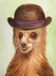 Pen and Watercolour of a Bear by Kay De Garay