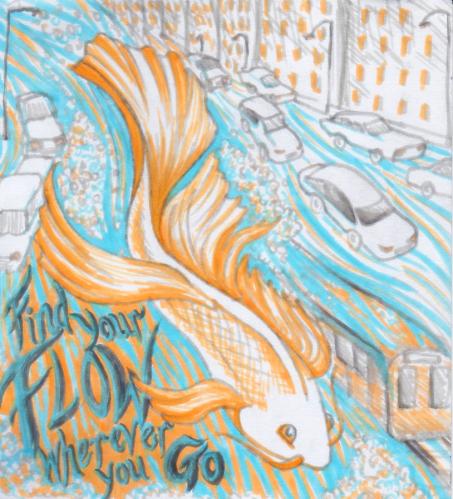 Pen drawing of a fish by Kay De Garay