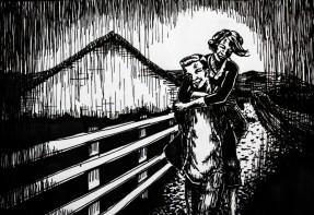 Drawing of a boy carrying a girl by Kay De Garay